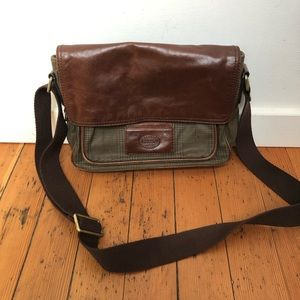 Fossil Shoulder Bag with Leather Flap and Pockets